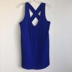 Lulus blue cross back Vneck sleeveless blouse sz S